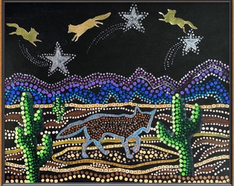 Foxes Jumping over Mountains and Stars