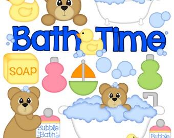 Bath Time Digital Clipart - Set of 14 - Bath Tub, Bear, Bubbles, Soap, Bubble Bath, Ducky - Instant Download - Item#8257