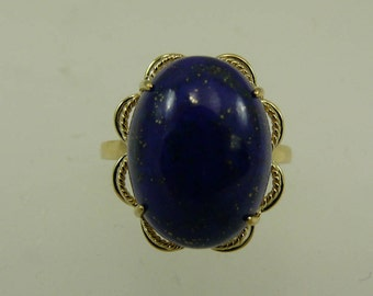 Lapis 12 mm x 16.2 mm Blue Ring 14k Yellow Gold