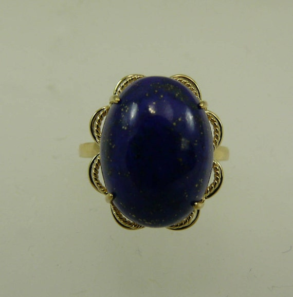 Lapis 12 mm x 16.2 mm Blue Ring 14k Yellow Gold