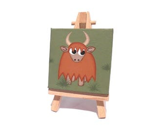 Miniature Highland Cow acrylic painting - small original art of a cute cartoon long haired cow with horns, mini canvas with easel or hanging