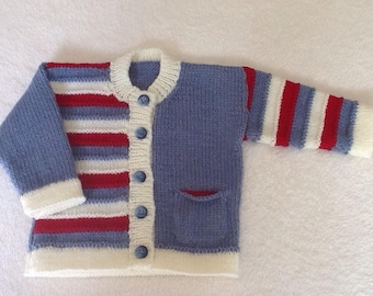 Baby or toddler's hand knitted striped cardigan/jacket. Baby knits, baby clothes, baby wear, sweater