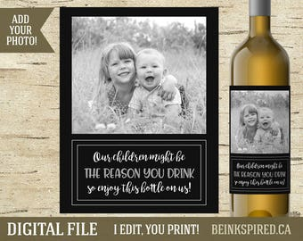 Personalized Wine Label, Teacher Wine Label, Daycare Thank You Gift, End of Year Gift, Daycare Provider Gift, Daycare Label, DIGITAL FILE