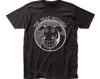 Dead Milkmen Cow Logo Men's Soft Fitted 30/1 Cotton Tee (DM07) Black
