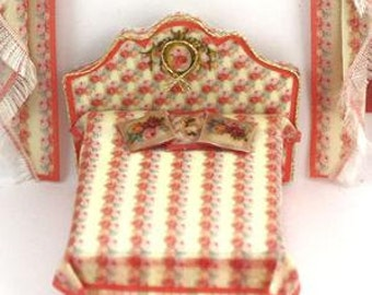 KIT Quarter Scale Dollhouse Kit Victorian Rose Double Bed 1:48, 1/48