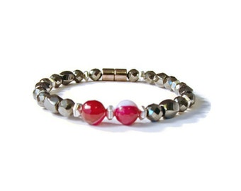 Black Hematite & Pink Gemstone Magnetic Therapy Pain Relief Bracelet