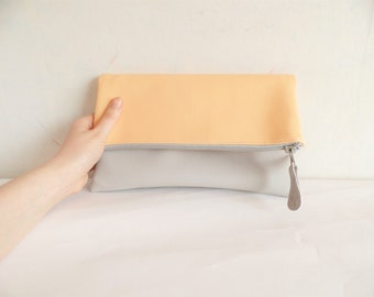 Leather clutch purse, melon clutch, light grey, papaya clutch, colorblock vegan leather clutch