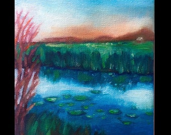 Original Small Oil Painting, Ocean, Summer, Night, Small Landscape, Small Painting, sunset, marsh, river, lowcountry