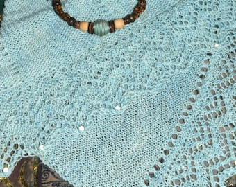 Sea Foam Hand Knit Garter Stitch Shawl with Frothy Waves Edging - from My Original Design