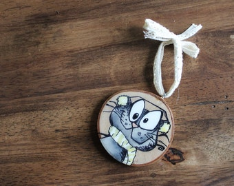 Cat ornaments painting on wood shimmering finish + pouring Medium