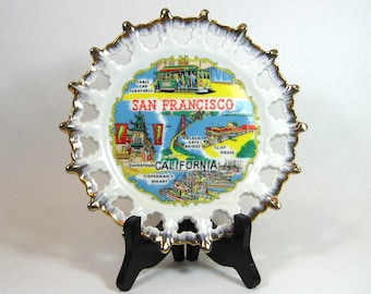 Efcco Porcelain Travel Souvenir Plate San Francisco California Kitsch Made in Japan 1960's