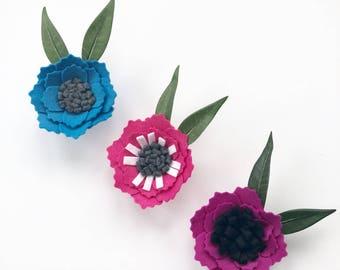 Large Felt Flower Magnets--Set of Three--Pink, Blue and Purple