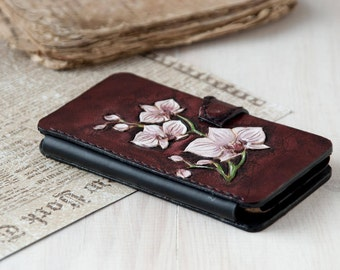 Leather women phone wallet Flower iphone cover Leather iPhone wallet white Orchids Women's iphone case Leather wallet 7 wristlet iPhone 6