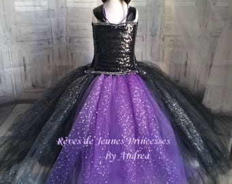 Dress tutu costume evil witch girl, purple and black tulle, Carnival costume.