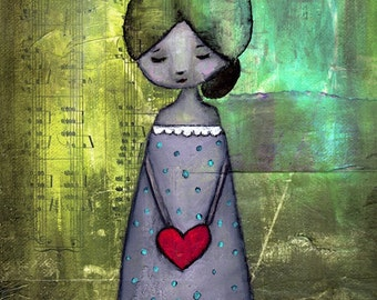 """Fine Art Print - Grungy Whimsical 8"""" x 12"""" Giclee Reproduction, Green Positive Peaceful Inspirational Decor Wall Art - """"Heartsong"""""""