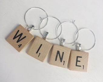 Individual Scrabble Letter Wine Glass Charms, WINE Scrabble Drink Markers, Scrabble Tile Gifts, Housewarming Present