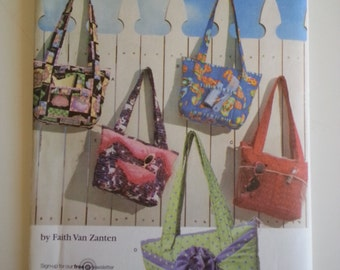 Tote bag pattern/ purse pattern/purse with pockets / large purse / zipper tote bag / large shoulder bag 2007 sewing pattern, Simplicity 3822