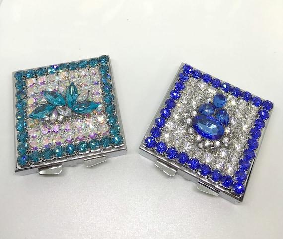 Ornate Opal AB  ~Sapphire Blue or Aqua~  Pillbox~ Crystal  Rhinestone Square Pill Box Case USA Beautiful!