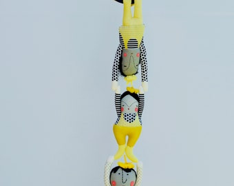 Circus Mime Mobile // Fiber Art // One-of-a-kind // Unusual // Ready to ship