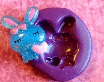 Kawaii Bunny 15mm - Flexible Silicone Mold - Chocolate, Cabochons, Sweets,  Resin, Clay Scrapbooking