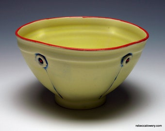 Yellow Button Ceramic Soup Bowl, Cereal Bowl