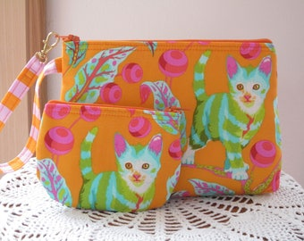 Cat Handbag, Smart phone Case, Gadget Cat Pouch, Cat Clutch, Cat Wristlet Zipper,Tabby Road Disco Kitty