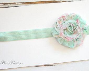 Mint Chiffon Headband - Mint Floral Headband - Mint Shabby Chic Headband - Baby Mont Headband
