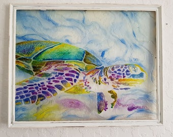 Turtle Glass Painting/Glass Art/ Hanging Art/ Framed Art/ Framed Painting/ Colourful Painting