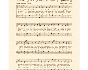 COME THOU FOUNT Of Every Blessing - Hymn Art - Custom Christian Home Decor - VintageVerses Sheet Music - Inspirational Wall Art - Sepia Art