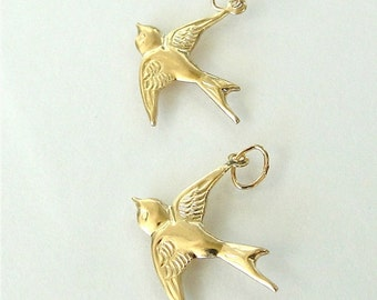 One Gold Filled Bird Charm (West) 17x16mm, Made in USA, GC17
