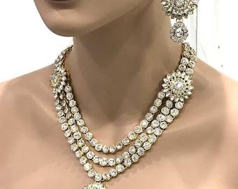 Wedding jewelry set, Bridal jewelry set, Antique Gold Crystal bridal bib necklace earrings, Luxury Indian Bollywood kundan fashion jewelry