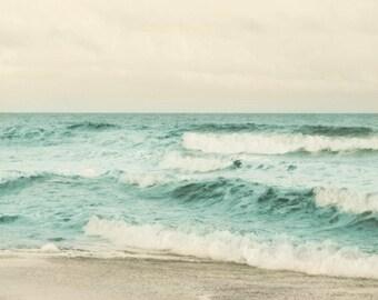 Beach Soft Dreamy Art Print - Aqua Sepia Tan Ocean Summer Beach House Wall Art Home Decor Photograph