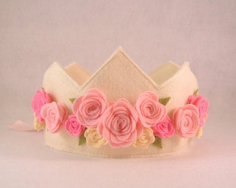 Felt Crown with Roses, Birthday Crown, Shabby Chic, Flower Girl, First Birthday, Photo Prop, Smash Cake