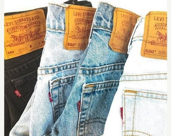 Levi's High Waist Tapered Jeans, Levis 550 Mom Jeans, 25 26 27 28 inch waist, Size 2 4 6 8
