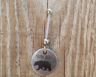 Mama Bear Pregnancy Belly Button Ring, Bioflex 14 Gauge, Mother Maternity Jewelry, Navel Piercing.
