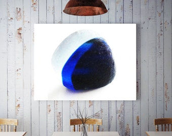 Art Print of Seaham SeaGlass - Blue and White Multi - LP5 - From Seaham England