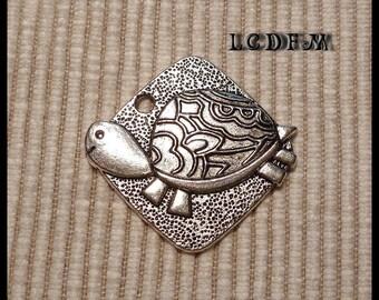 * ¤ 3D square 1 pendant * turtle * silver - 25mm ¤ * #PC29