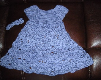 Awesome hand made dress for girl with head band