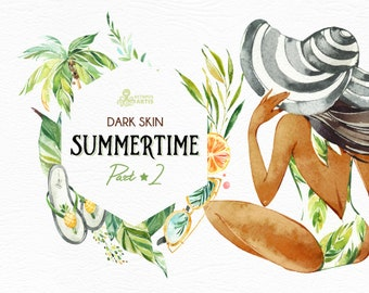 Summertime 2. Dark skin. Wreaths, Frames, Elements. Watercolor holiday clipart, girls, beach, travel, suitcase, floral, tropical leaves, fun