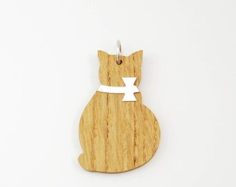 Wood Silver Big Cat Charm for Necklace-Jewelry  Gift For Women/Girls / For Cat Lovers