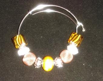 No. 30049 Brown, Black, Tan and Silver Large Hole Slider Beaded Bracelet