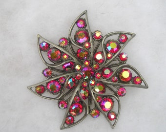 Pretty Large BSK Aurora Borealis Rhinestone Pewter Pin Brooch