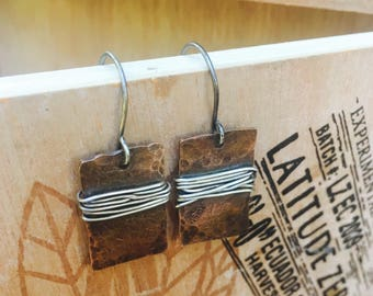 Hammered Copper and Sterling Silver Wrapped Dangle Earrings