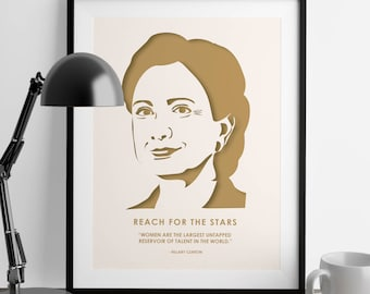Hillary Clinton - Nevertheless She Persisted - Hillary Clinton Quote - Feminist Gifts - Home Decor - Minimalist Poster - Wall Decor