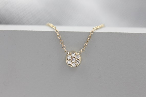 14k Solid Gold Diamond Cluster Pave Cluster Diamond Disc Necklace by Etsy