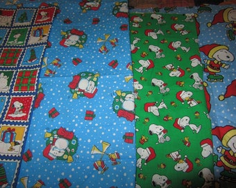 Four 14 x 26 Inch Peanuts Gang/Snoopy Christmas  Cotton Fabric Remnants