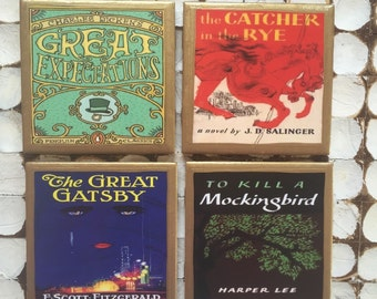 COASTERS!! The classic book coasters with gold trim. The Catcher in the Rye, To kill a Mockingbird, The Great Gatsby and Great Expectations