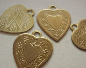 Vintage Brass Hearts (8) Dangles Findings Beads