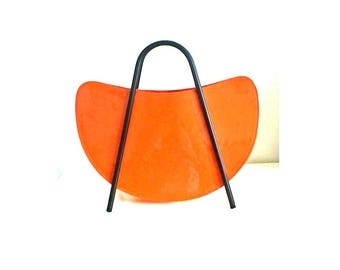 SOLD OUT! Patent Orange Leather Bag with black metal handles - magazine rack style handbag