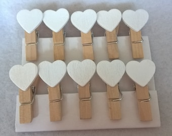 A Pack Of 10 Cute Mini Wooden Heart Pegs
